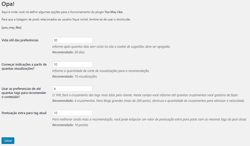 Plugin para recomendação de posts - You May Like - Vinicius Verner
